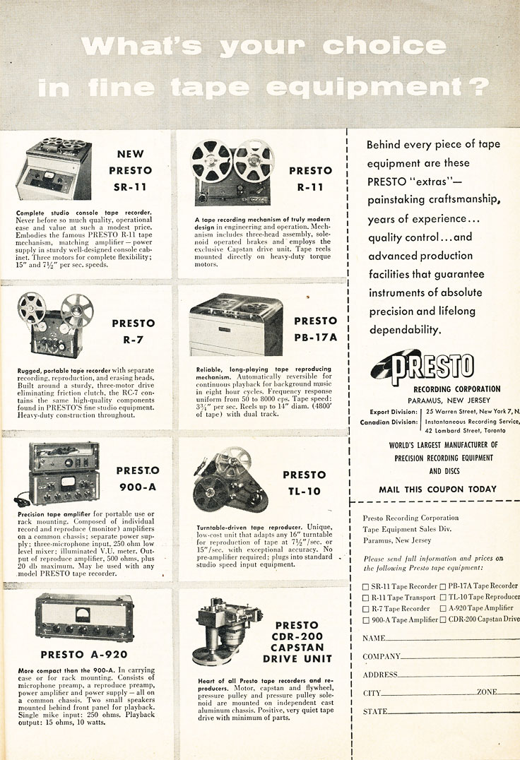1954 ad for the Presto RC-11 professional reel to reel tape recorder in Reel2ReelTexas.com's vintage recording collection