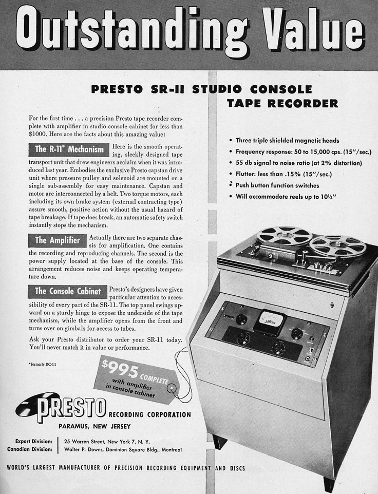 1954 ad for the Presto SR-11 professional reel to reel tape recorder in Reel2ReelTexas.com's vintage recording collection