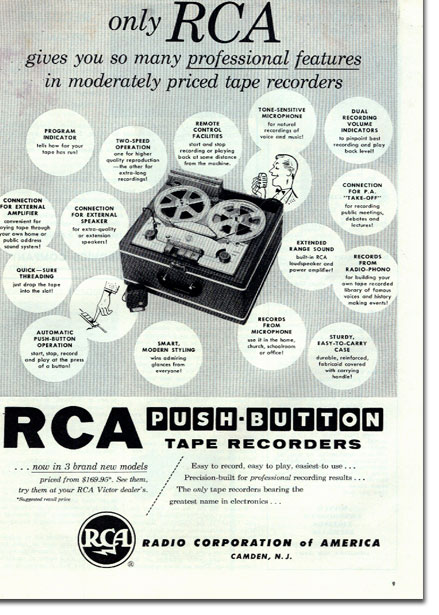 1954 RCA reel to reel tape recorder ad in the Phantom productions' vintage recording collection