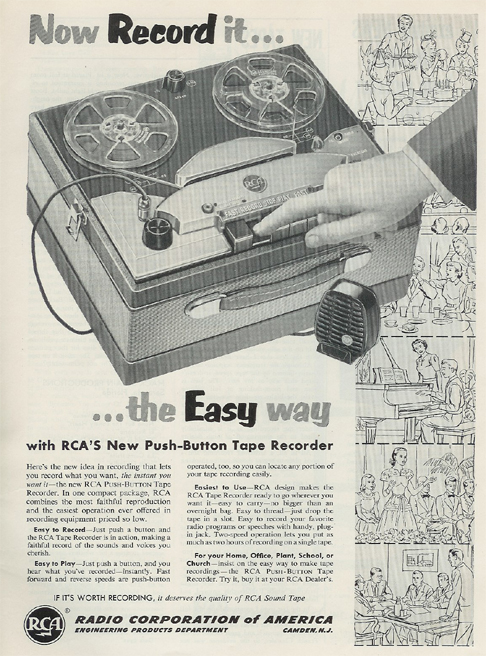 1954 RCA reel tape recorder ad