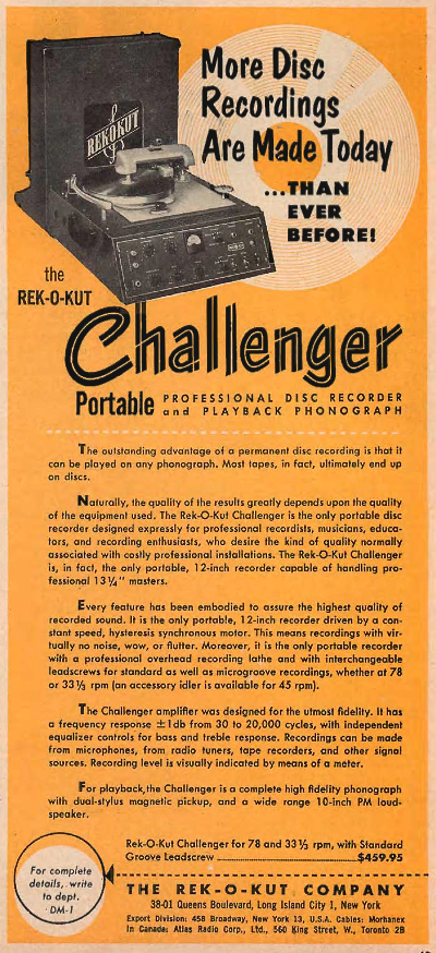 1954 ad for the Rek-OKut Challenger record cutting unit in Reel2ReelTexas.com's vintage recording collection