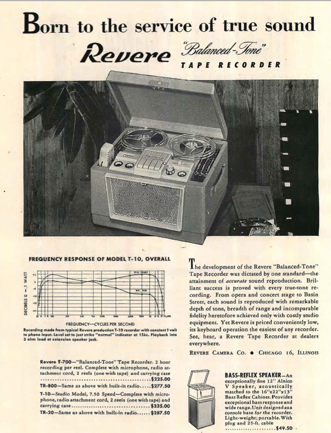 1954 ad for Revere reel to reel tape recorders  in Reel2ReelTexas.com's vintage recording collection