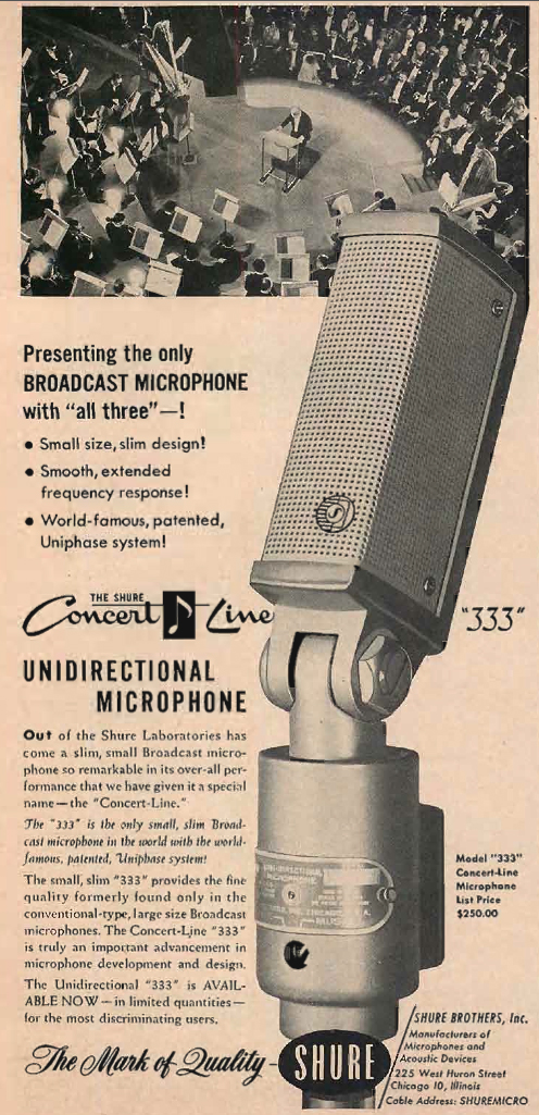 1954 ad for the Shure 333 microphone in Reel2ReelTexas.com's vintage recording collection