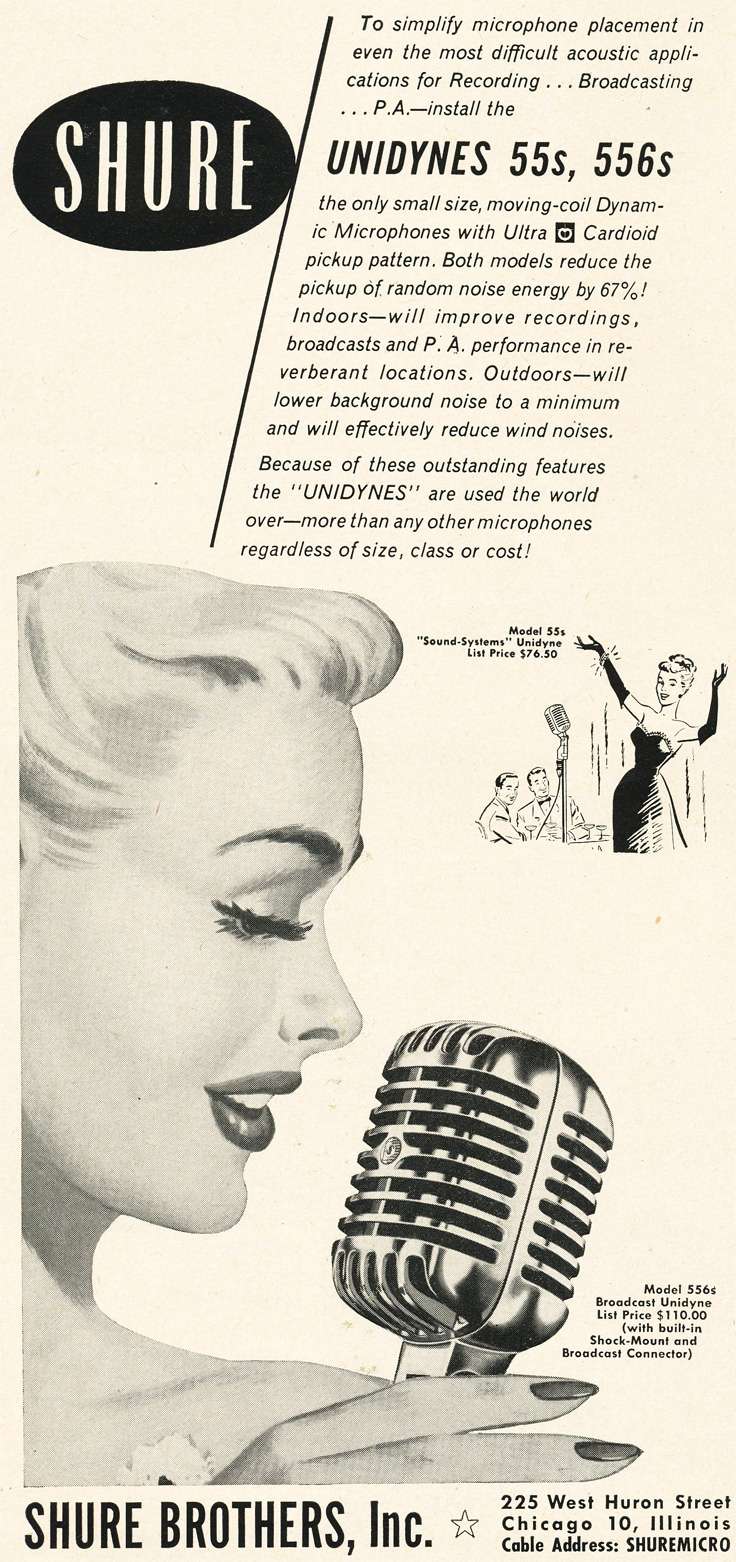 1954 ad for the Shure 55s microphone in Reel2ReelTexas.com's vintage recording collection