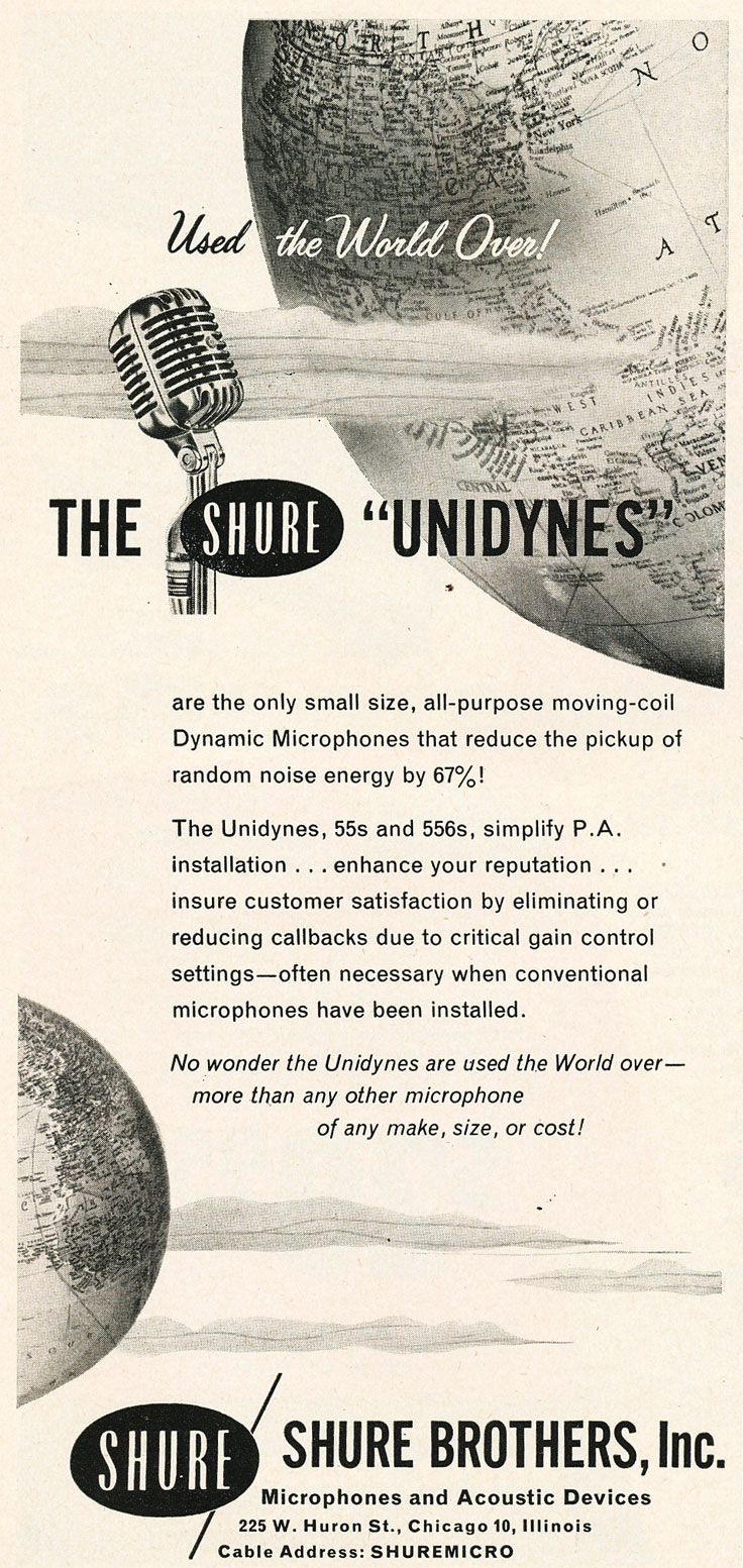 1954 ad for the Shure Unidyne microphone in Reel2ReelTexas.com's vintage recording collection