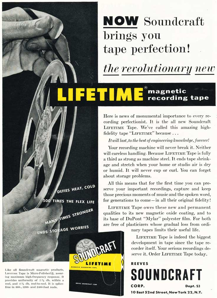1954 ad for Reeves Soundcraft test reel recording tape in Reel2ReelTexas.com's vintage recording collection