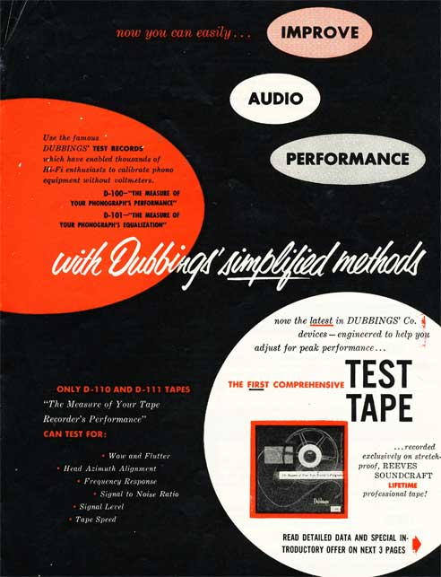 1953 ad for Reeves Soundcraft test reel recording tape in Reel2ReelTexas.com's vintage recording collection