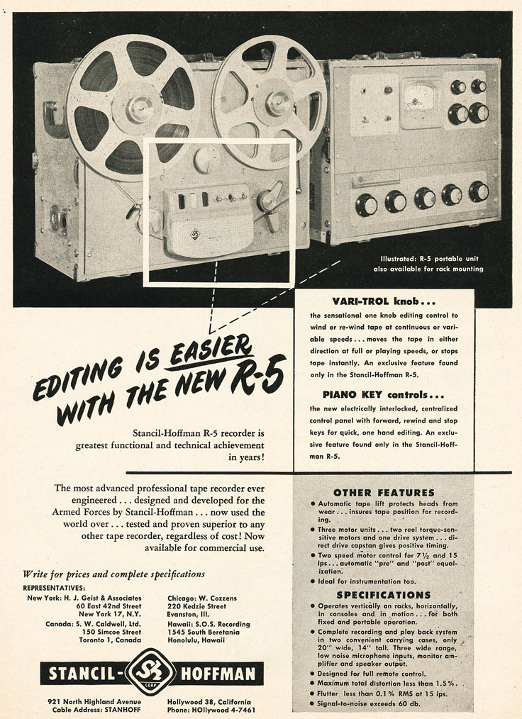 1954 ad for the Stancil Hoffman R-5 professional reel to reel tape recorder in Reel2ReelTexas.com's vintage recording collection