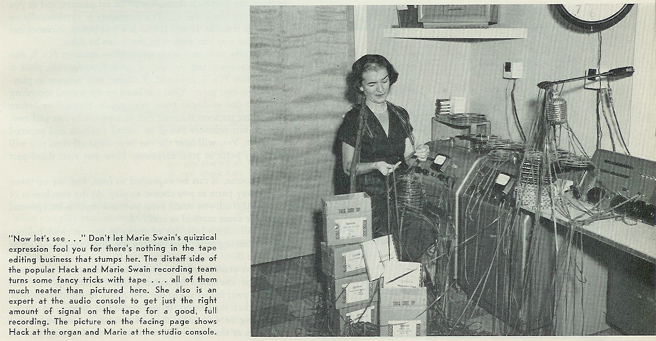 ladty at Swain tape duplication services in 1954