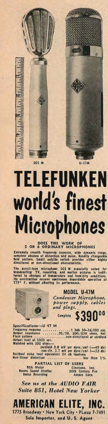 1954 ad for Telefunken   microphone in Reel2ReelTexas.com's vintage recording collection