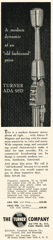 1954 ad for the Turner ADA 95D microphone in Reel2ReelTexas.com's vintage recording collection