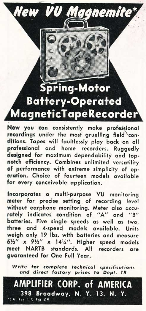 1954 ad for the Amplifier Corp's VU Magnemite spring wound reel tape recorder in Reel2ReelTexas.com's vintage recording collection