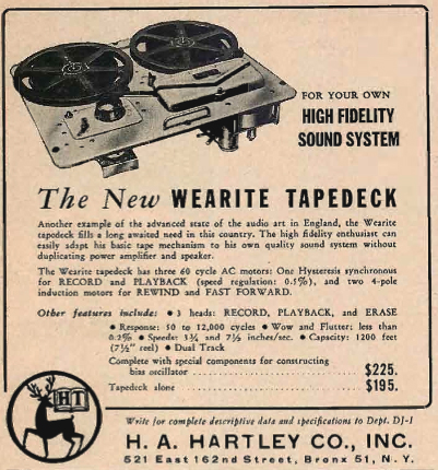 1954 Wearite reel to reel tape recorder ad in Reel2ReelTexas.com's vintage recording collection