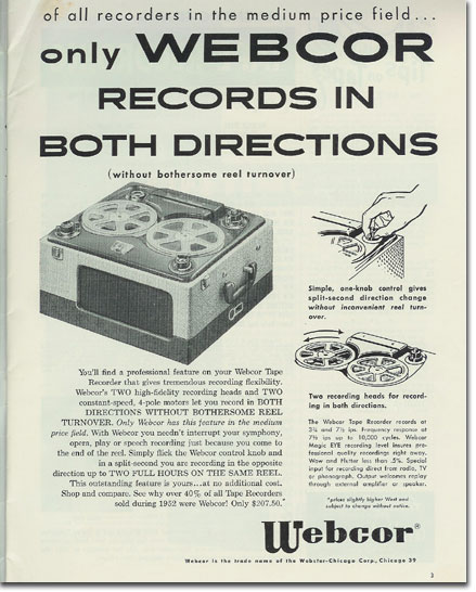 Webcor Recorder ad from 1954