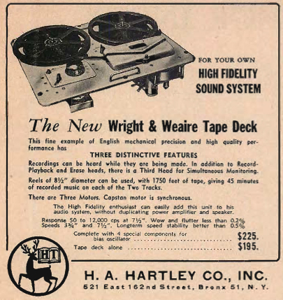 1954 Wright & Weaire reel to reel tape recorder ad in Reel2ReelTexas.com's vintage recording collection