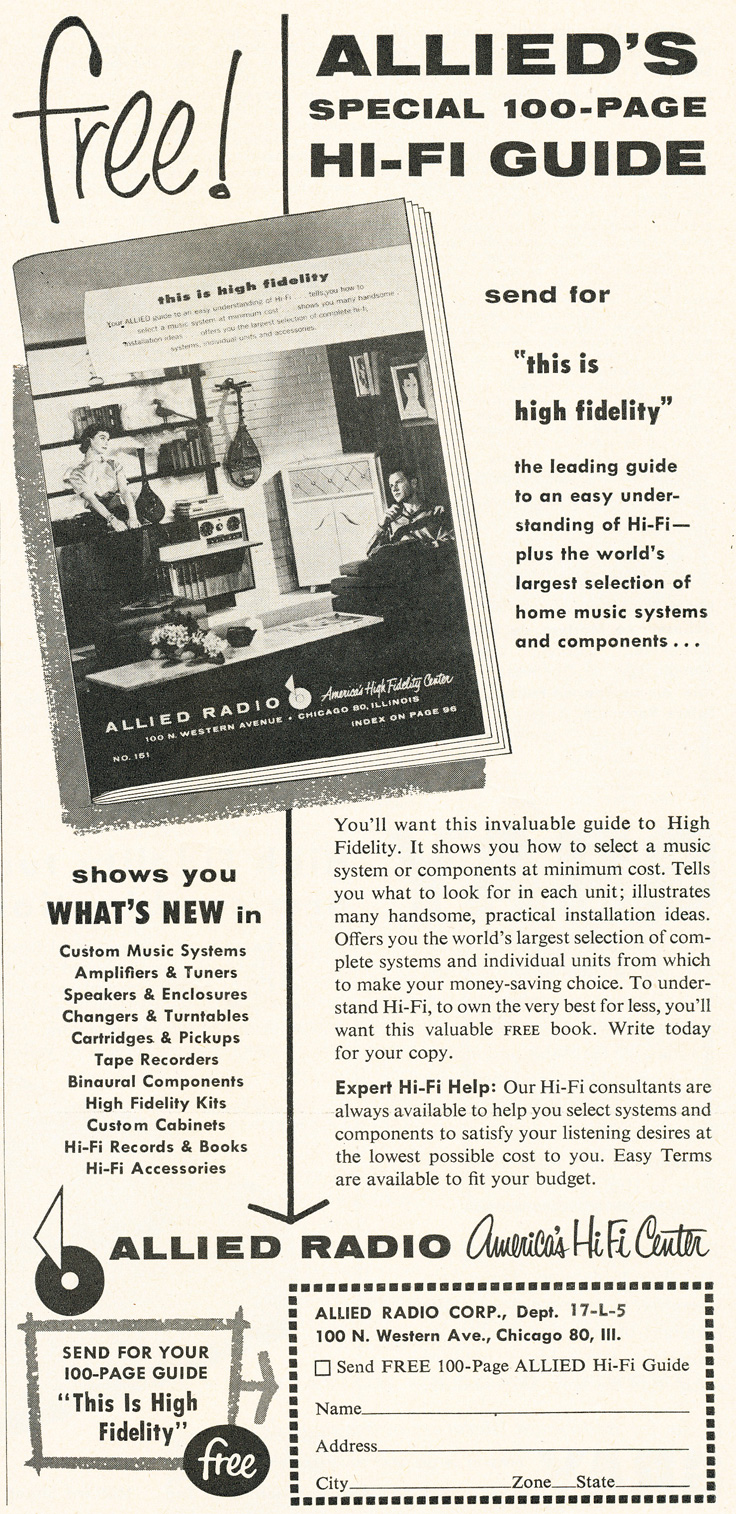 1955 ad for the Allied Radio catalog in Phantom Productioons' vintage recording collection