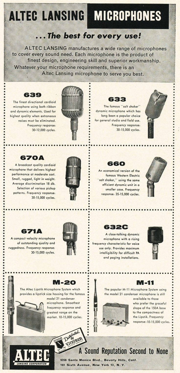 1955 ad for Altec Lansing corpoation microphones in Reel2ReelTexas.com's vintage recording collection