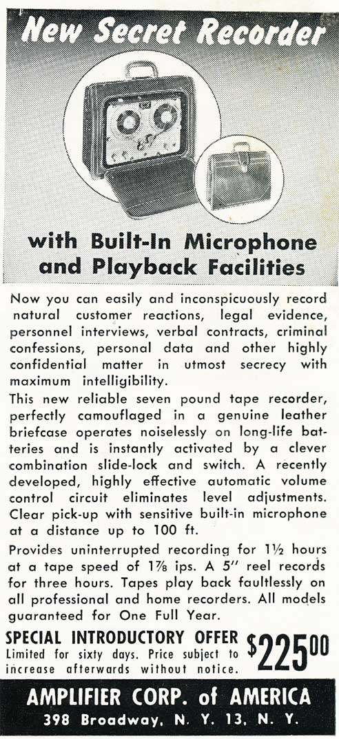1955 ad for the Amplifier Corp of America (builder of the spring wound Magnemite tape recorder in Reel2ReelTexas.com's vintage recording collection