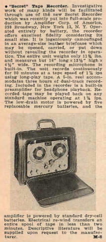 1955 review of the Amplifier Corp of America (builder of the spring wound Magnemite tape recorder in Reel2ReelTexas.com's vintage recording collection