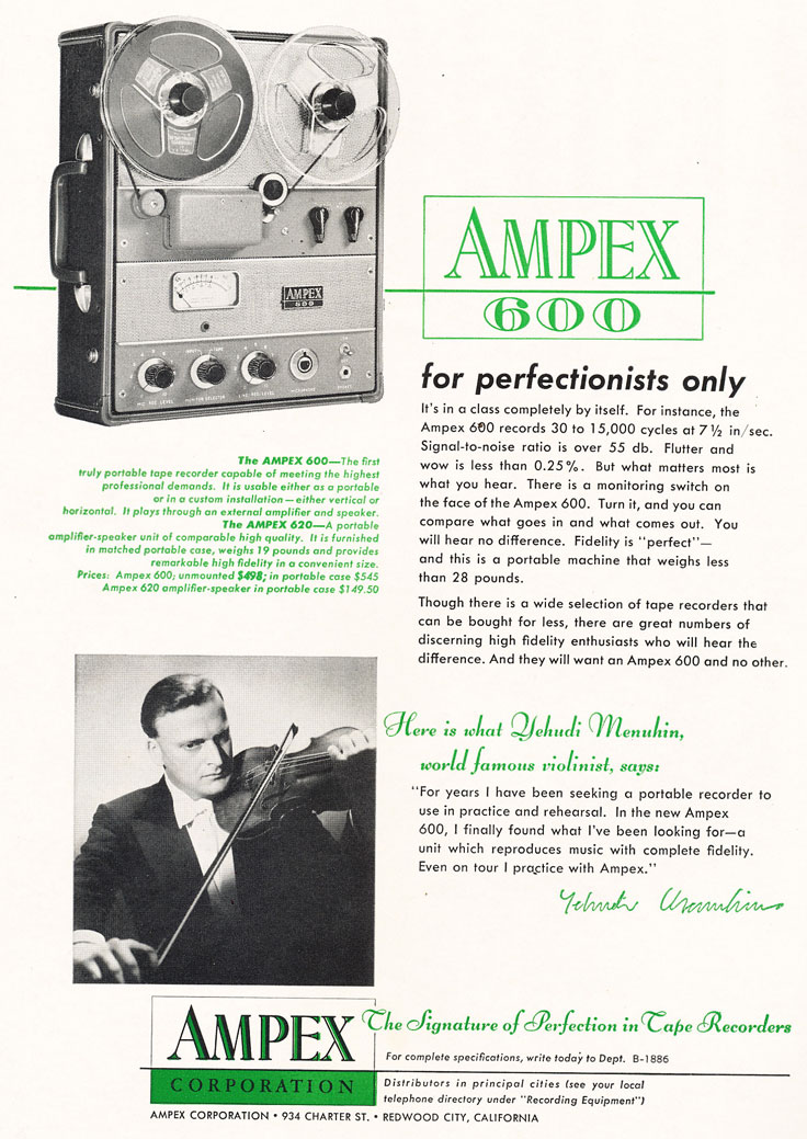 1955 Ampex ad for the Ampex 600 reel to reel tape recorder in Reel2ReelTexas.com's vintage recording collection