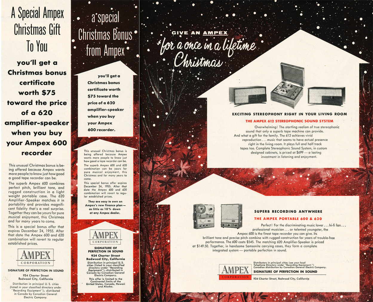 1955 Christmas ad for Ampex reel to reel tape recorder in Reel2ReelTexas.com's vintage recording collection