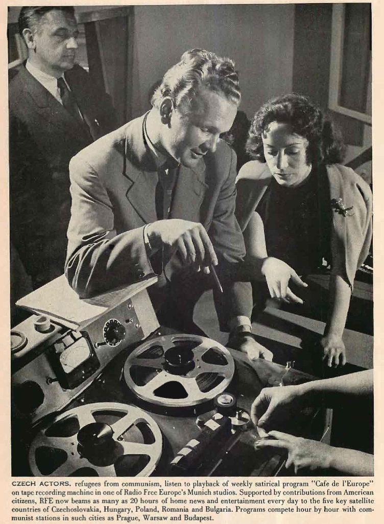 1955 article about Czech refugees using an Ampex reel tape recorder for radio Free Europe