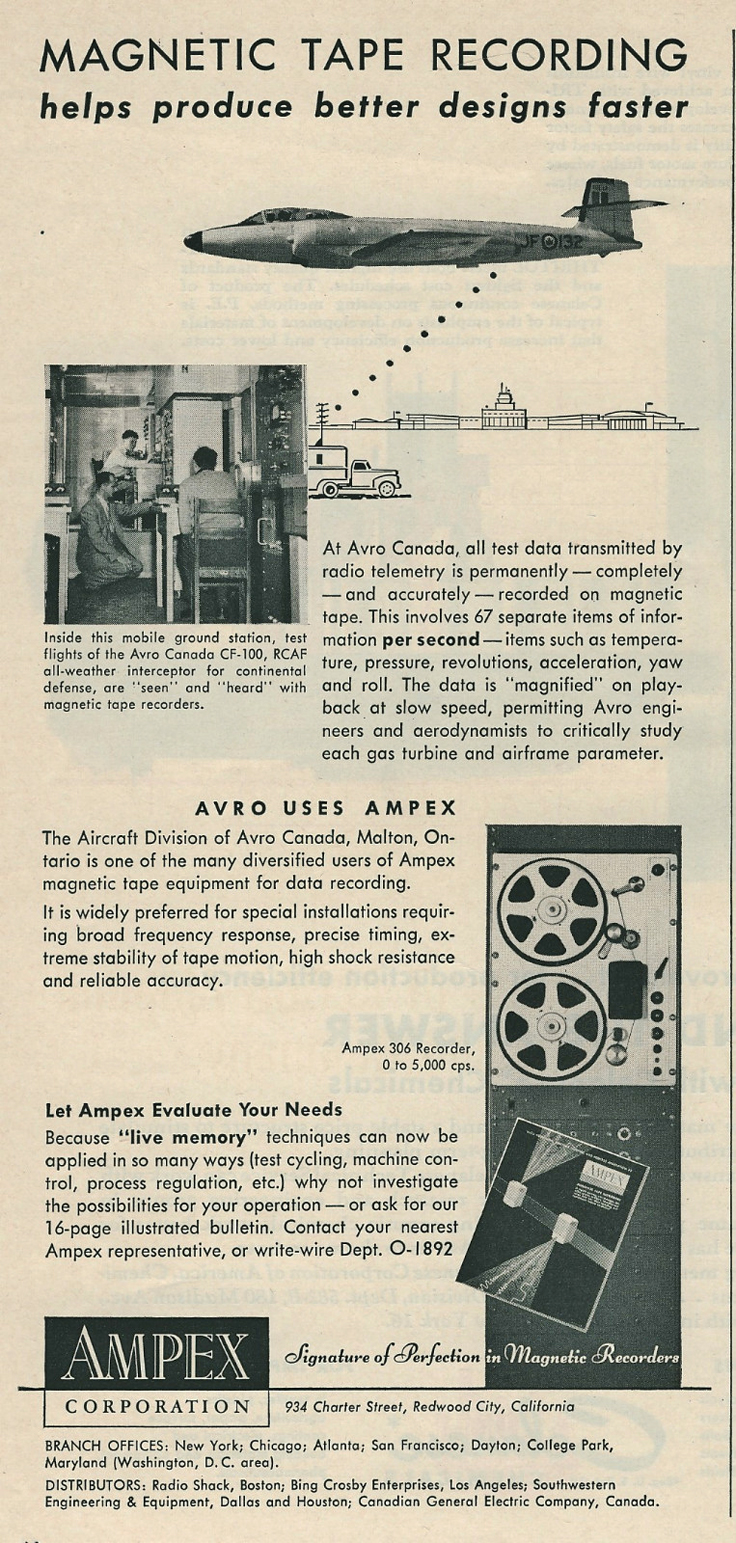 1955 ad for the Ampex data reel to reel tape recorder