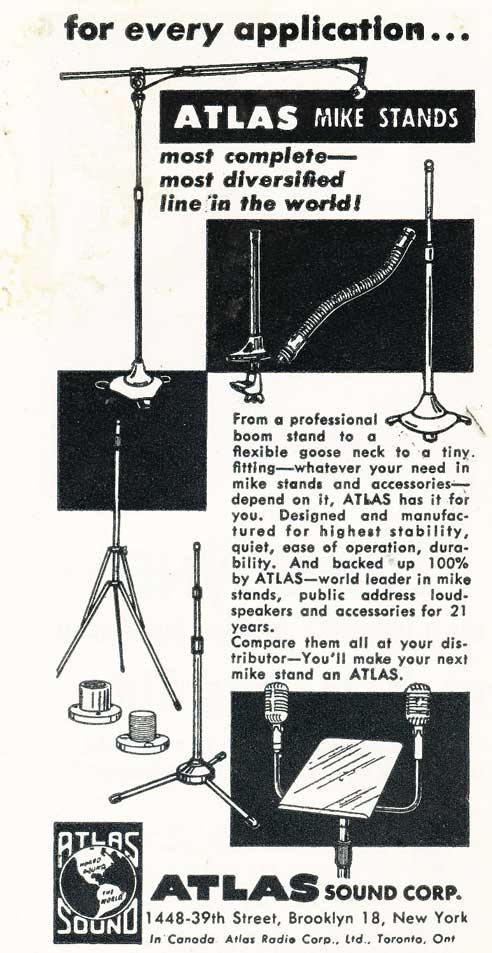 1955 Atlas microphone stand ad in Reel2ReelTexas.com's vintage recording collection