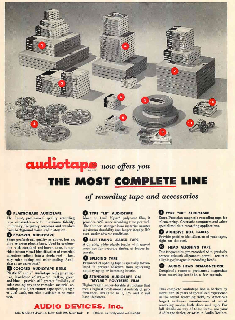 1955 Audio Devices ad for their reel recording tape in Reel2ReelTexas.com's vintage recording collection