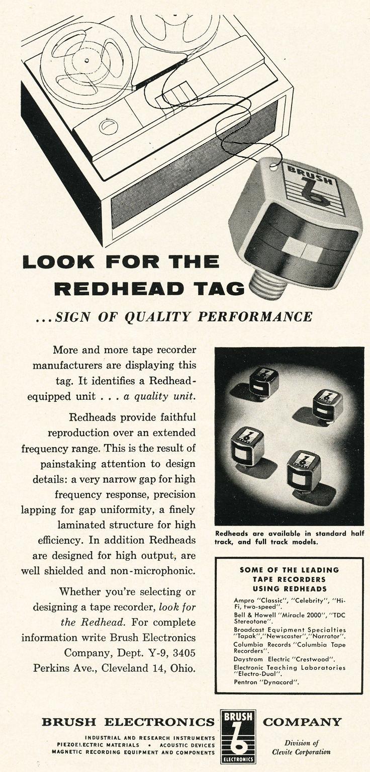 1955 Brush tape recording head ad in Reel2ReelTexas.com's vintage recording collection