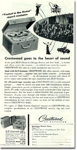 1955 Crestwood reel to reel tape recorder ad in Phantom Production's reel tape recorder collection