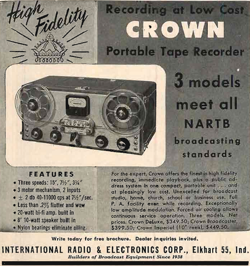 1955 ad for the Crown Deluxe  reel to reel tape recorder by International Radio and Electronics Corporation in the Reel2ReelTexas.com's vintage recording collection