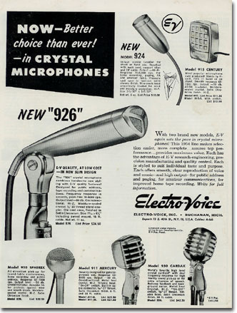 picture of 1955 Electro Voice microphone ad