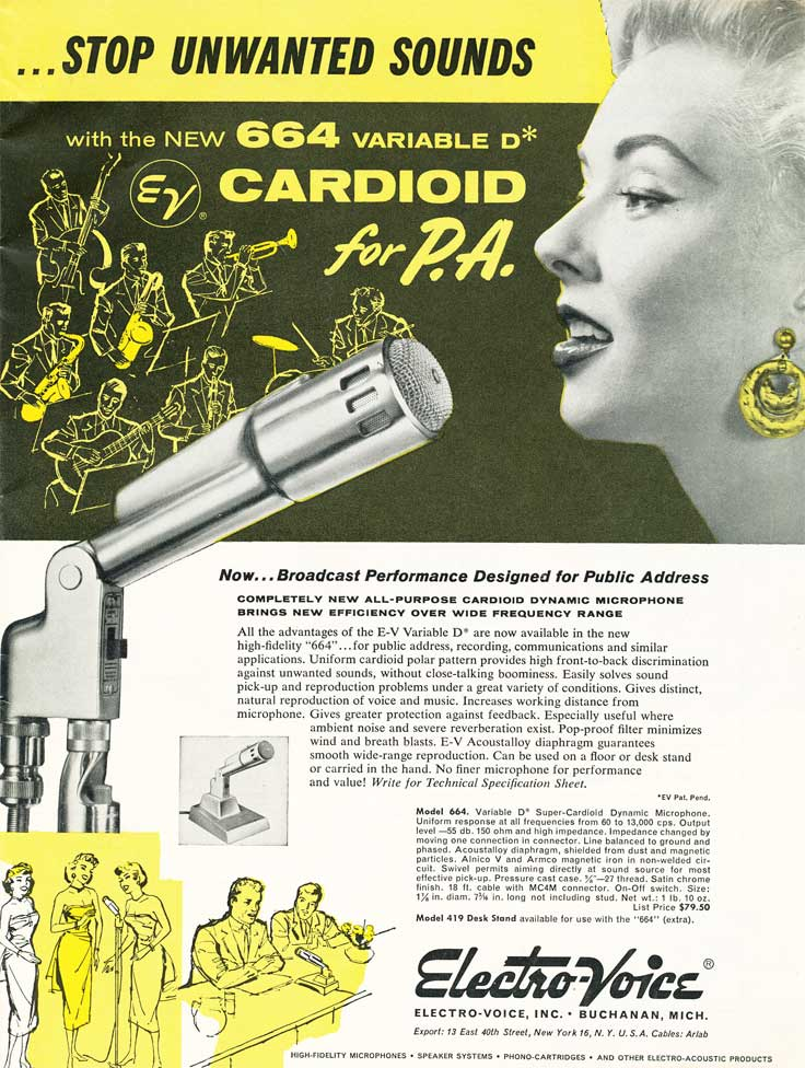 1955 ad for the Electro Voice 664 microphone in Phantom Productions' vintage tape recording collection