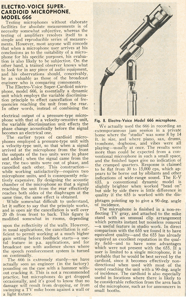 1955 review of the Electro Voice 666 microphone in Phantom Productioons' vintage recording collection