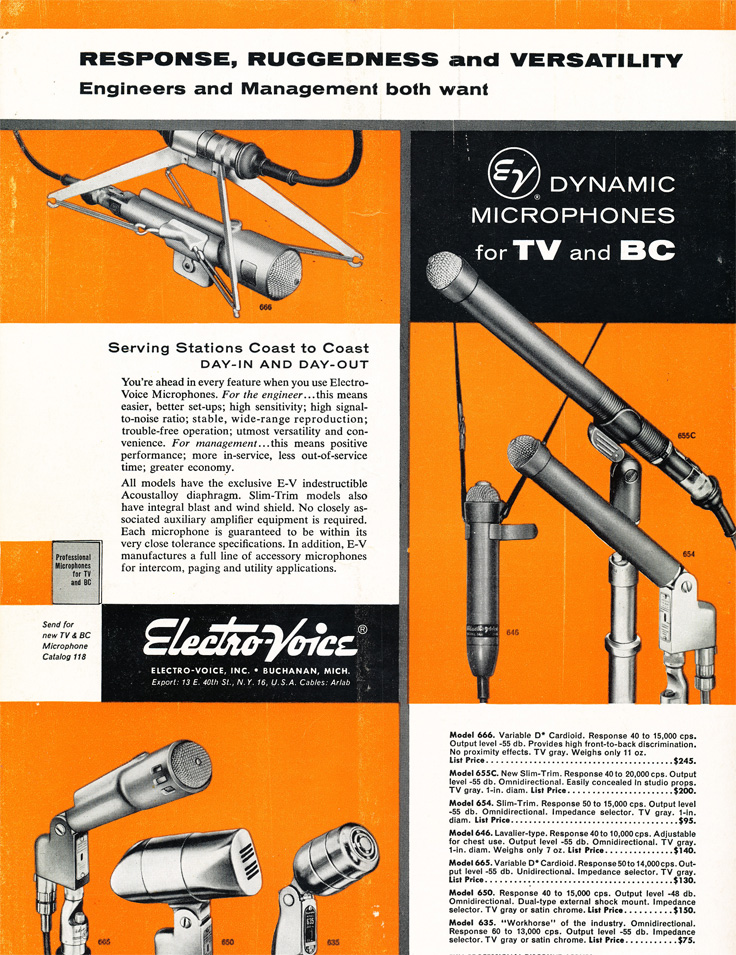 1955 ad for the Electro Voice microphones in Phantom Productions' vintage tape recording collection