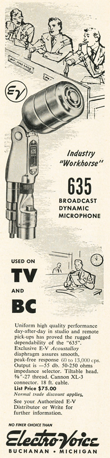 1955 ad for the Electro Voice 635 microphone in Phantom Productions' vintage tape recording collection