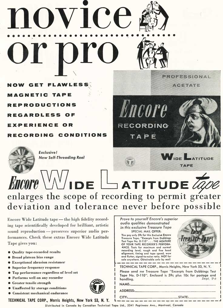 1955 ad for Encore reel recording tape in Reel2ReelTexas.com's vintage recording collection
