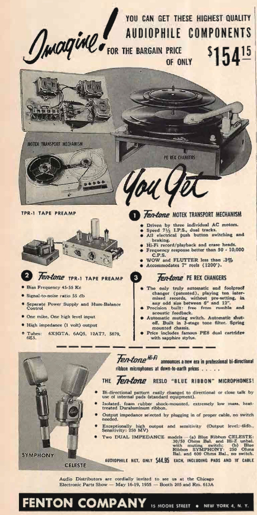 1955 ad for Fentone Reslo microphones in Phantom Productions' vintage tape recording collection