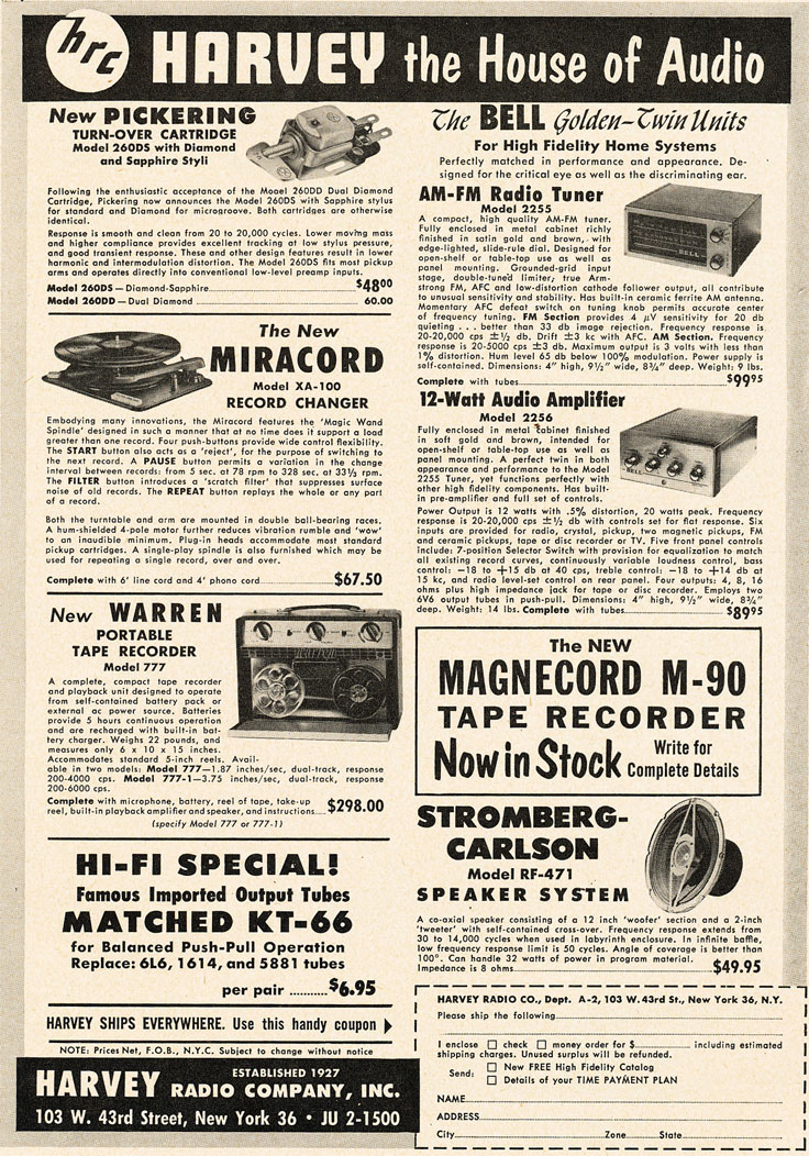 1955 ad for Harvey electronics