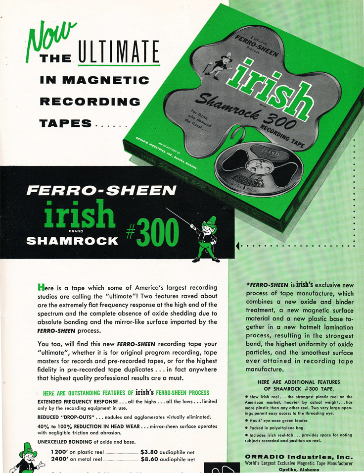 1955 ad for Irish reel to reel recording tape in Reel2ReelTexas' vintage recording collection