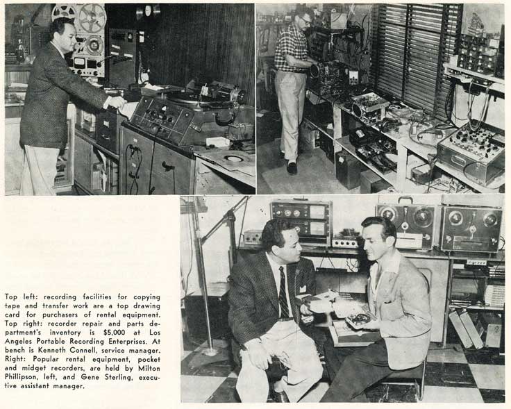 1955 photo of a Los Angeles reel tape recorder sales and repair shop in Reel2ReelTexas.com's vintage recording collection