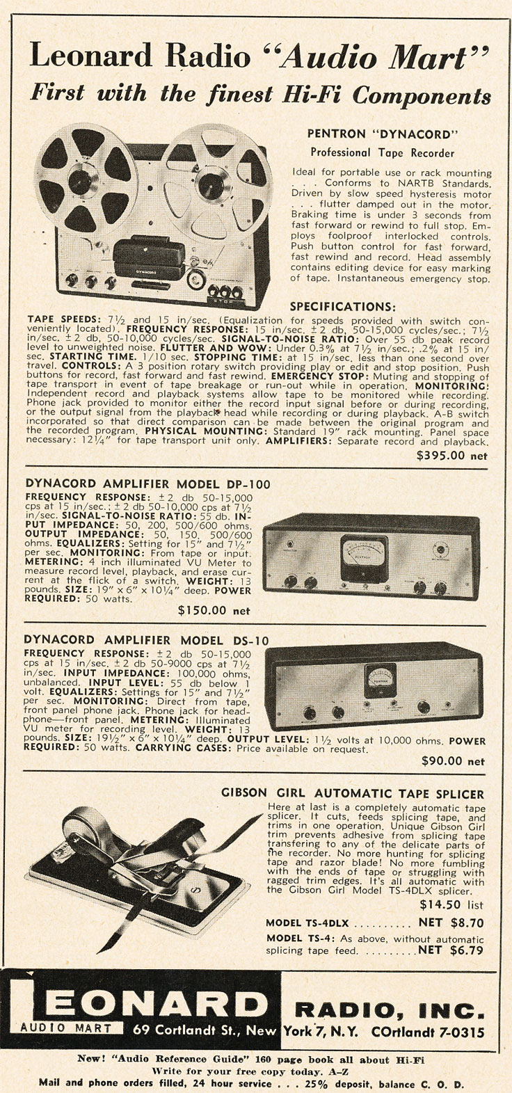 1955 Leonard Pentron  reel to reel tape recorder ad for the Reel2ReelTexas.com's vintage recording collection