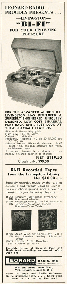 1955 Leonards ad in the Reel2ReelTexas.com's vintage recording collection