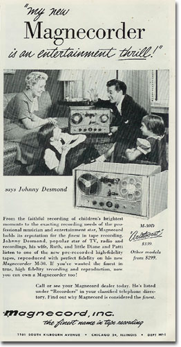 picture of 1955 Magnecord reel to reel tape recorder ad
