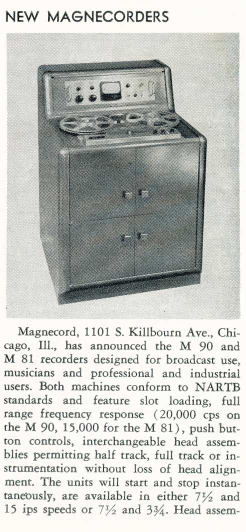1955 product profile of the Magnecord M90 professional reel to reel tape recorder in Reel2ReelTexas.com's vintage recording collection