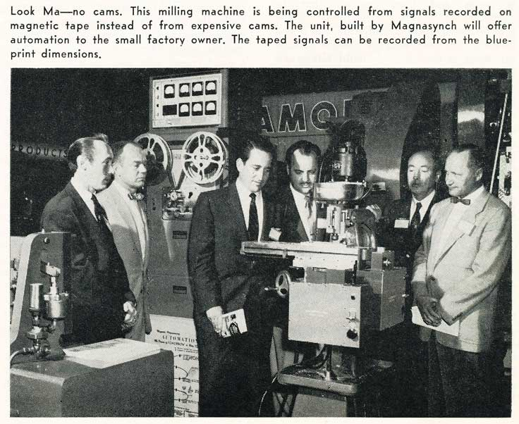 1955 picture describing making cans with a machine that is guided with magnetic tape recorded from the plans