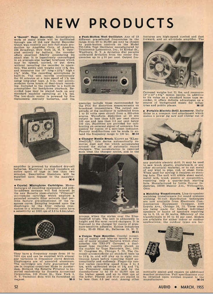1955 listing of new products in Reel2ReelTexas' vintage recording collection