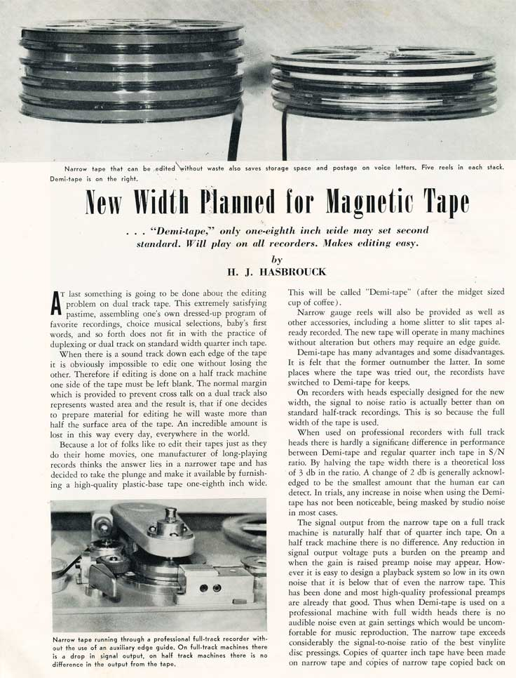 1955 article of splitting the reel to reel tape width in Reel2ReelTexas.com's vintage recording collection