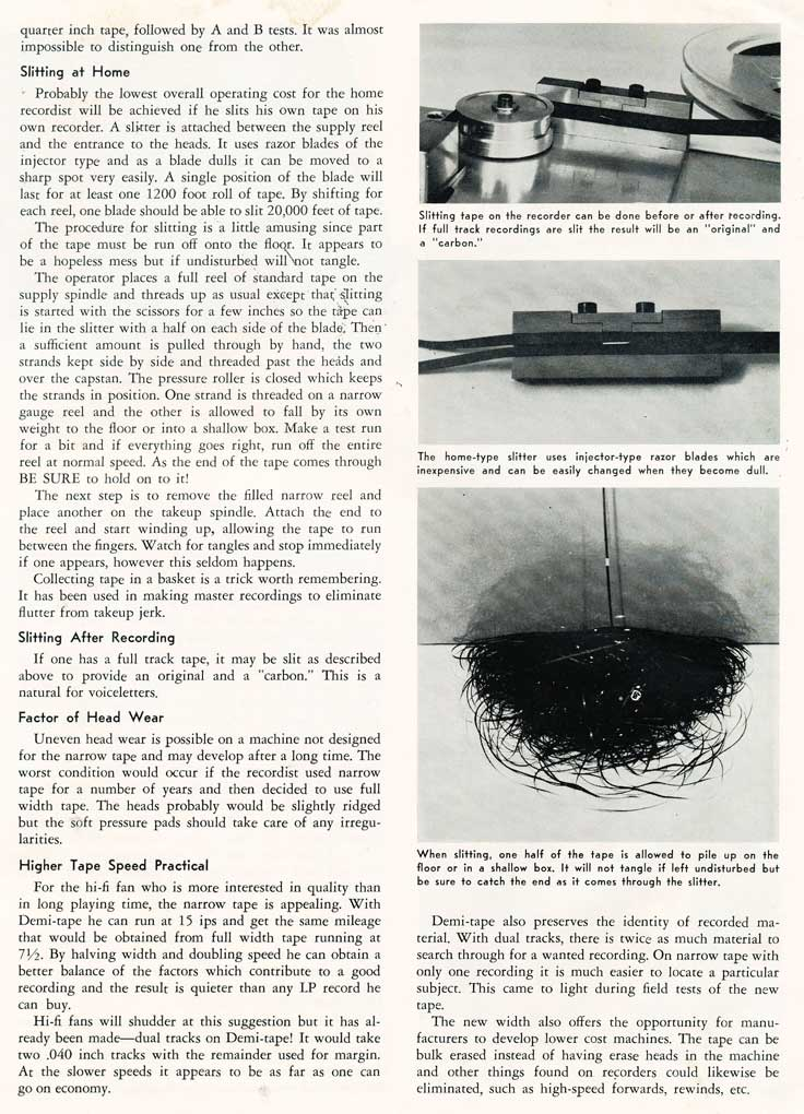 Page 2 of a 1955 article of splitting the reel to reel tape width in Reel2ReelTexas.com's vintage recording collection
